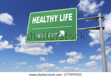 Road sign of healthy life - stock photo