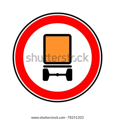 road sign of interdiction of transport of dangerous objects - stock photo