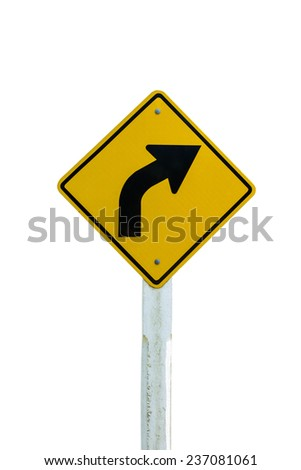 Road sign of Turn right arrow isolated on white background - stock photo