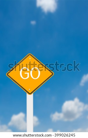 road sign on blue cloudy sky background.