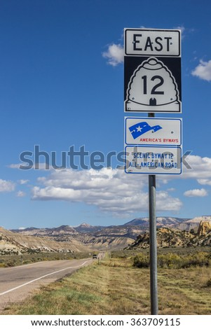 Road sign on scenic byway 12 in Utah, USA