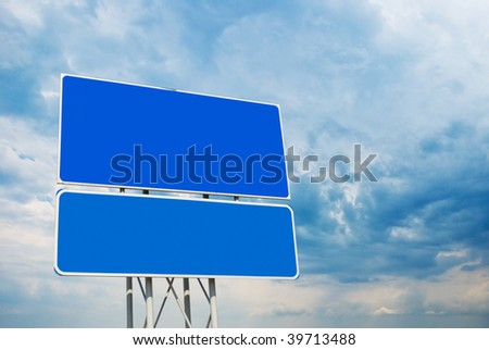 Road sign on sky background for past your information - stock photo