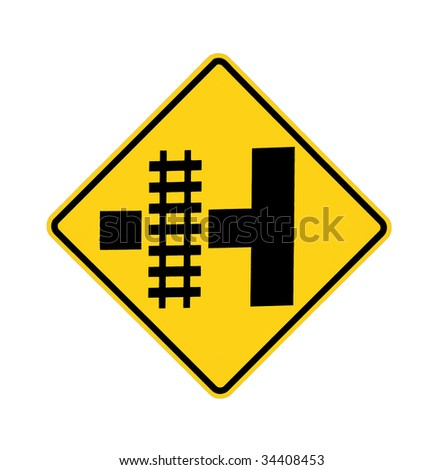 road sign - Railroad crossing - stock photo