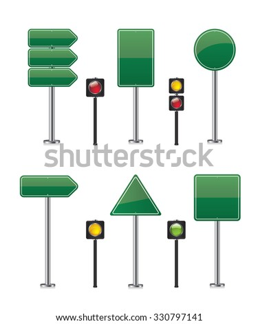 Road sign set illustration - stock photo