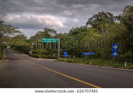 Road sign showing direction to Uxmal  ancient city ruins, Yucatan, Mexico