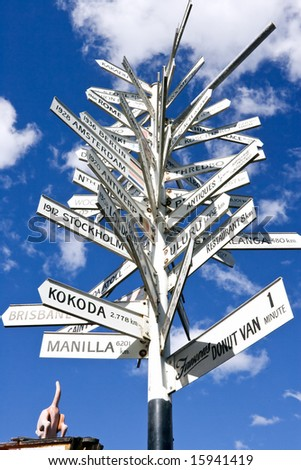 Road sign showing distance to many world cities - stock photo
