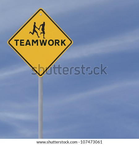 Road sign showing the silhouette of an athlete passing the baton to his teammate in a relay race (against a blue sky background with copy space) - stock photo