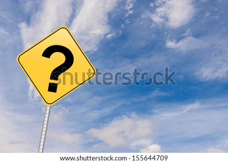 Road sign showing universal question mark, message for confusion and innovating thinking - stock photo