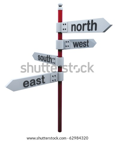 Road sign 4 sides of the world - stock photo