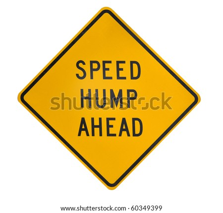 Road sign speed hump ahead on yellow dimomnd square - stock photo