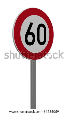 road sign speed limit sixty on white background - 3d illustration