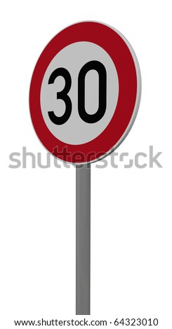road sign speed limit thirty on white background - 3d illustration