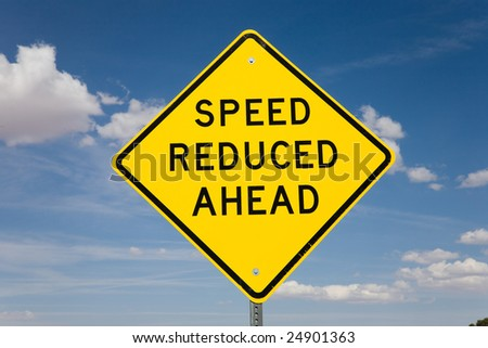 Road sign speed reduced ahead, USA