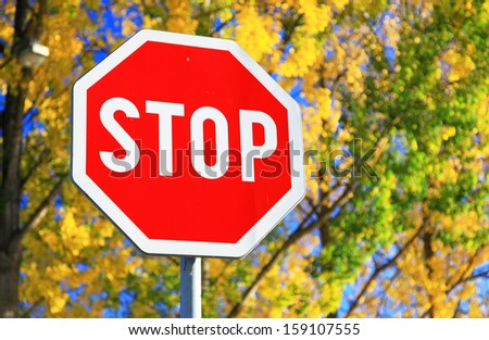 Road sign STOP and autumn trees