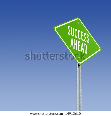 Road sign telling of a good future. - stock photo