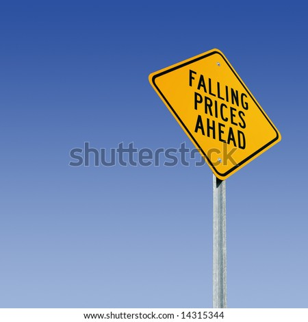 Road sign tells of a big sale - stock photo