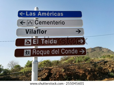 Road sign. Tenerife, Canary Islands - stock photo