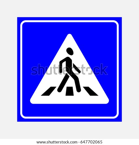 road sign the crosswalk, walking man on a blue background, fully editable image