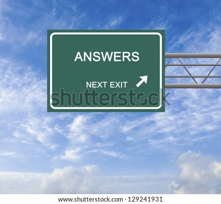 Road sign to answers - stock photo