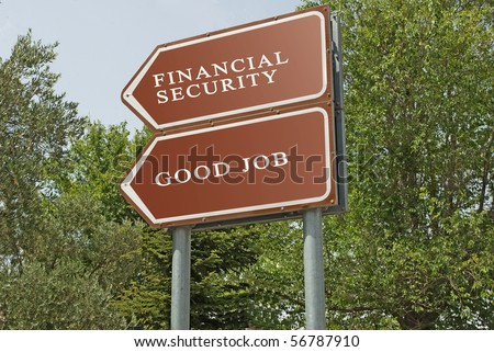 Road sign to financial security and good job - stock photo