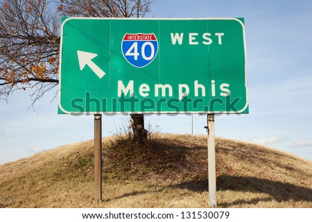 Road Sign to Highway 40 West in Nashville, Tennessee - stock photo
