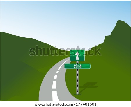 road sign to 2014. illustration design over landscape background