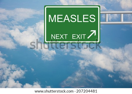 Road sign to MEASLES - stock photo