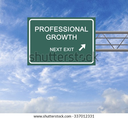 Road Sign to  professional growth - stock photo