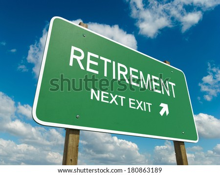 Road sign to retirement - stock photo