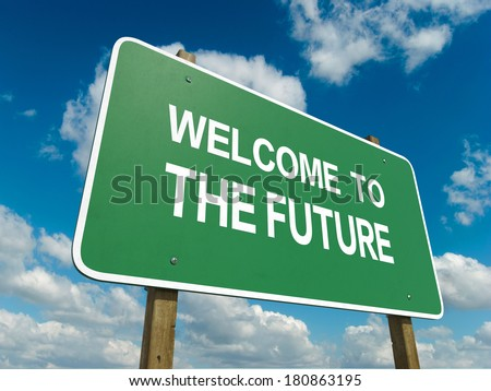 Road sign to the future - stock photo