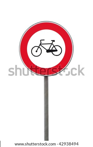 Road sign transit interdiction to bicycle isolated on white background