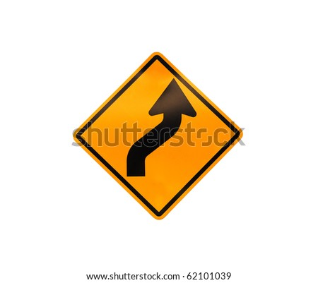 Road sign - turn on white background - stock photo