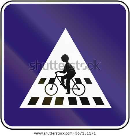 Road sign used in Slovakia - bicycle crossing.