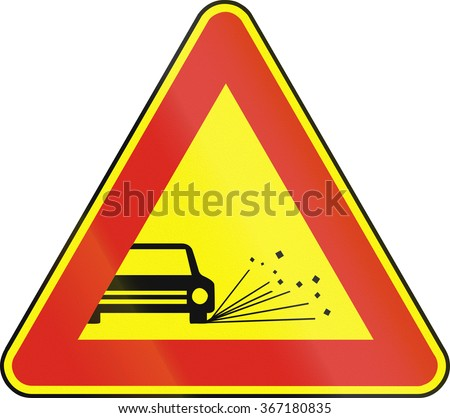 Road sign used in Slovakia - Loose chippings (as a temporary sign).