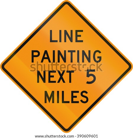 Road sign used in the US state of Virginia - Line painting next 5 miles.