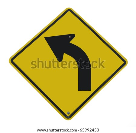 Road sign warning of dangerous left curve isolated on white background. - stock photo