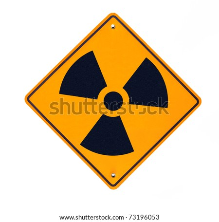 Road sign warning of Radiation isolated on white background. - stock photo