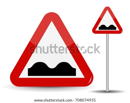 Road sign Warning Uneven road. In Red Triangle image of bad cover with pits.  Illustration.