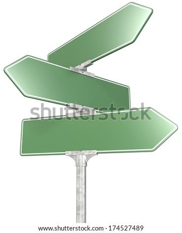 Road sign. 3 way green road sign post. Isolated. - stock photo