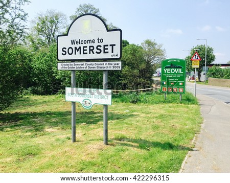 Road sign Welcome to Somerset and Yeovil, England, UK - stock photo