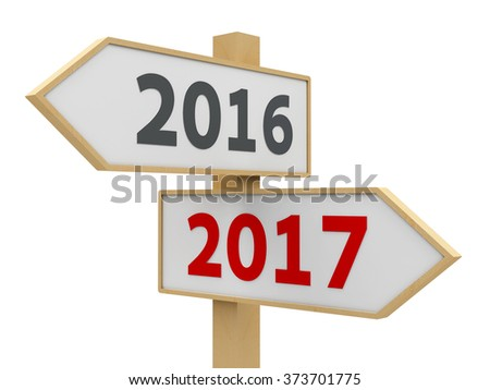 Road sign with 2016-2017 change on white background represents the new 2017, three-dimensional rendering - stock photo