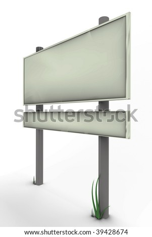Road sign with grass - 3d image - Right view - stock photo