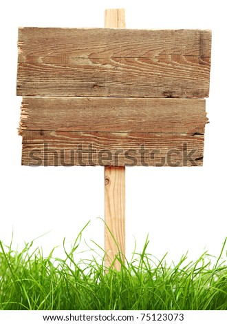 road sign with green grass isolated on a white background - stock photo