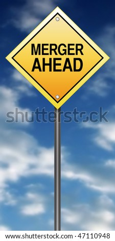 "Road Sign with ""Merger Ahead"" - stock photo"