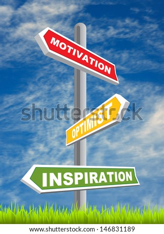 Road sign with motivation, optimist, inspiration word over blue sky background.