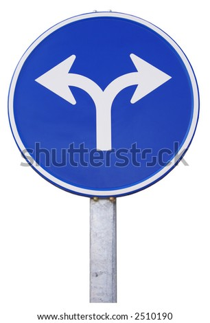 road sign with opposite arrows. Europe - stock photo