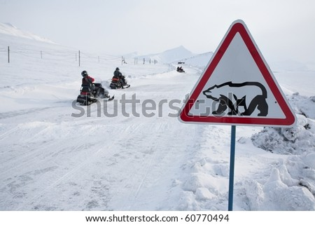 Road sign with polar bear - Barentsburg, Spitsbergen - stock photo