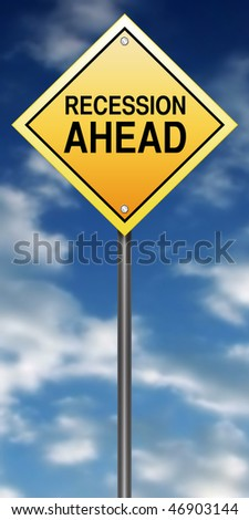 Road Sign with Recession Ahead - stock photo