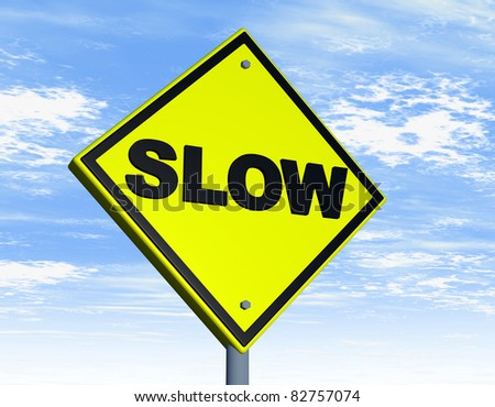 Road sign with slow word over yellow background - stock photo