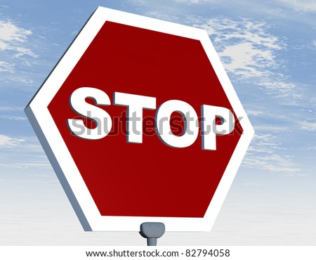 Road sign with stop word on red background - stock photo